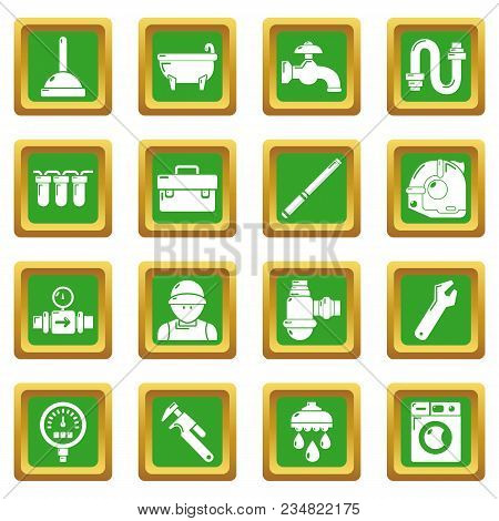 Plumber Symbols Icons Set Vector Green Square Isolated On White Background