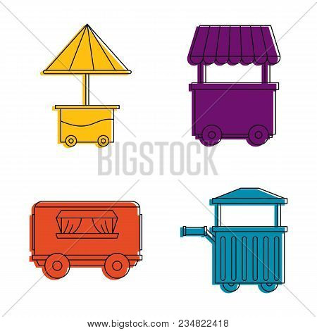 Street Shop Cart Icon Set. Color Outline Set Of Street Shop Cart Vector Icons For Web Design Isolate