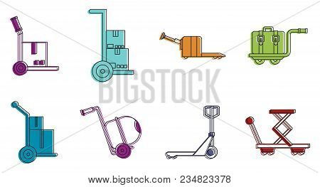 Warehouse Cart Icon Set. Color Outline Set Of Warehouse Cart Vector Icons For Web Design Isolated On