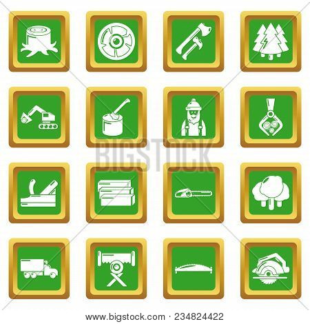 Timber Industry Icons Set Vector Green Square Isolated On White Background