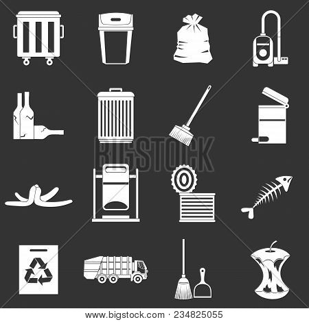 Garbage Thing Icons Set Vector White Isolated On Grey Background