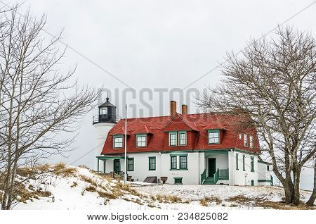 Point Betsie Lighthouse On Lake Michigan In The Winter