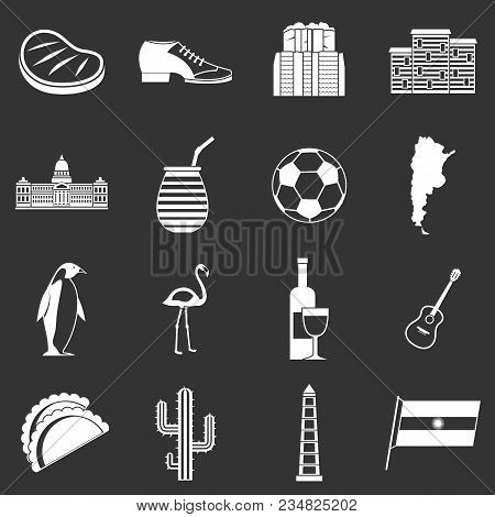 Argentina Travel Items Icons Set Vector White Isolated On Grey Background