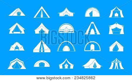 Tent Icon Set. Simple Set Of Tent Vector Icons For Web Design Isolated On Blue Background