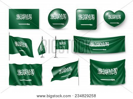 Set Saudi Arabia Flags, Banners, Banners, Symbols, Flat Icon. Vector Illustration Of Collection Of N