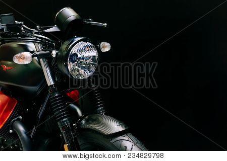 Bangkok, Thailand -march 31,2018: Close Up Shot Of  Headlight Of New Modern Black Moto Guzzi Motorcy