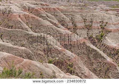 Sediment Layer Details In The Badlands In Badlands National Park In South Dakota