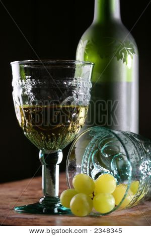 Two Goblets, Grape And Bottle