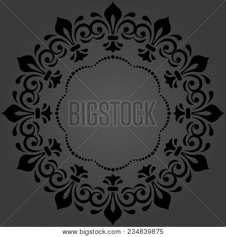 Oriental Vector Pattern With Arabesques And Floral Elements. Traditional Round Black Classic Ornamen
