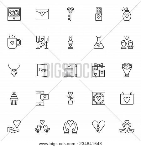 Love Outline Icons Vector Photo Free Trial Bigstock