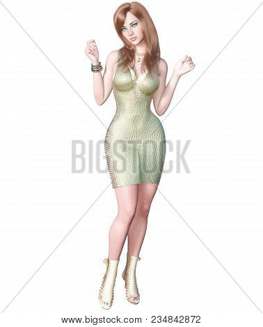 Tall Sexy Woman In Golden-silver Light Transparent Summer Dress. Conceptual Fashion Art. Seductive C