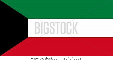 The Flag Of Kuwait. National Symbol Of The State. Vector Illustration.