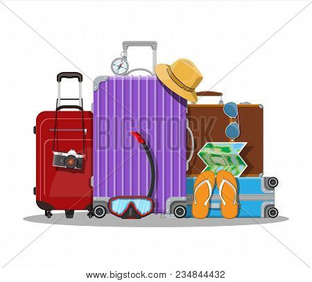 Modern and vintage travel bag. Plastic and leather case. Photo camera, map, flip flops, compass, hat, scuba mask and eyeglasses. Travel baggage and luggage. Vector illustration in flat style poster