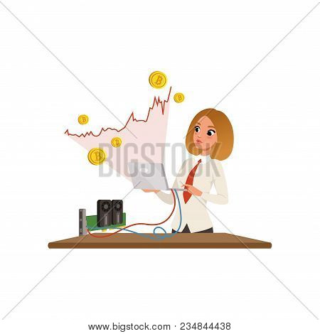 Young Businesswoman With Laptop In Hands Mining Bitcoins. Red Growing Graph. Miner Of Gpu. Virtual M