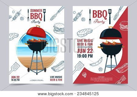 Bbq Party A4 Invitation Template. Summer Barbecue Weekend Flyer. Grill Illustration With Food Sketch