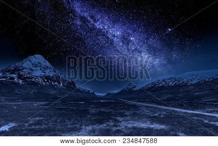 Highlands At Night With Milky Way, Scotland