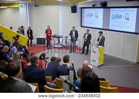MOSCOW, RUSSIA - NOV 09, 2017: People in auditorium of Yandex company office during conference dedicated to new application Yandex.Fuel.