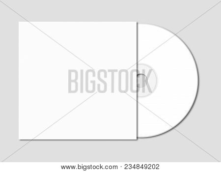 White Cd - Dvd And Cover Mockup Template Isolated On Grey Background