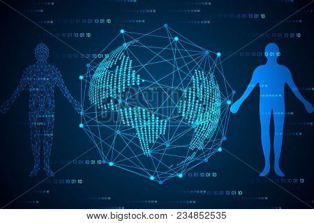 Abstract Technology Concept Humans Body Digital Link And World Map Dot Digital Link Network Connecti