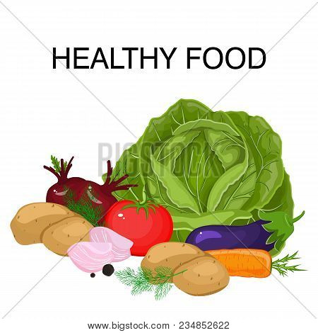 Banner Template Design, Poster Set Of Vegetables In Cartoon Style For Proper Nutrition. Stock Vector