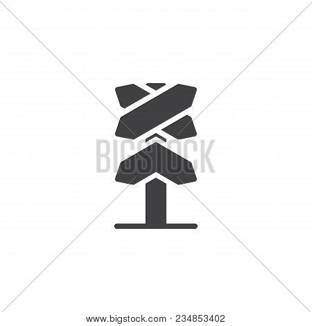 Railway Roadsign Vector Icon. Filled Flat Sign For Mobile Concept And Web Design. Railroad Crossing