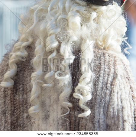 White Fluffy Fur On Wig As Background .