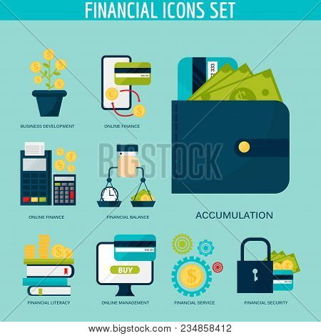 Banking Money Financial Services Set Credit Sign Development Online Accumulation And Bank Investment