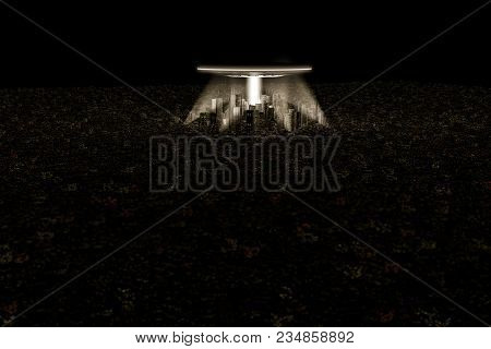 3d Illustration Of A Big Unidentified Flying Object Over A  Huge Modern City
