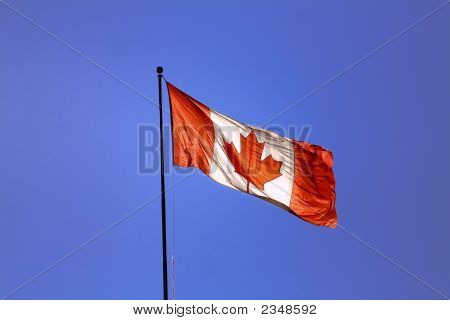 Canadian Flag & Blue Sky