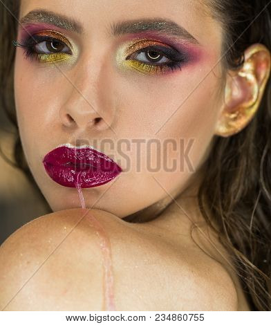 Makeup And Skincare For Young Woman Face And Lips Skin. Makeup And Skincare Model With Glamour Visag