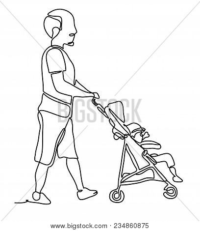 Full Length Portrait Of A Male Pushing A Baby Stroller Isolated On White Background. Continuous Line