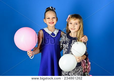 Children Girls In Dress, Family And Sisters. Little Girls In Fashionable Dress, Prom. Friendship, Lo