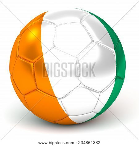 A Soccer Ball With Flag Of Ivory Coast, Isolated On White