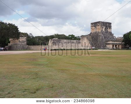 Ancient Ruins Of Great Ball Court Buildings On Chichen Itza In Mexico, Largest And Most Impressive O