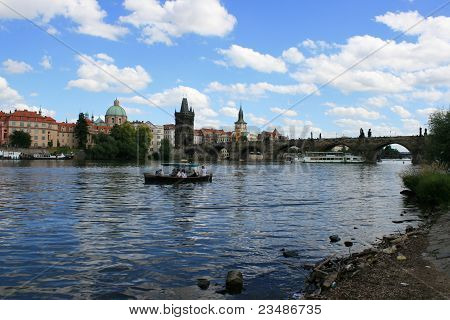Boat on the river in Praha /Prague