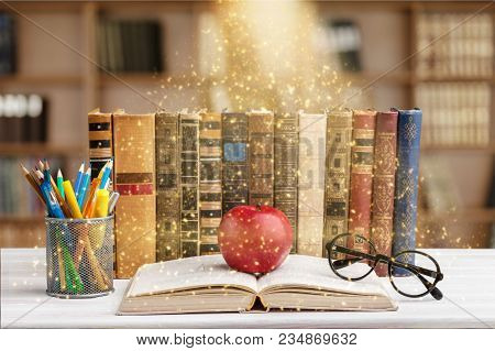 Color Colorful Stack Books Red Background Nobody