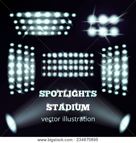 Stadium Spotlights Realistic Set Of White Cold Soffits And Floodlights On Black Background  Isolated