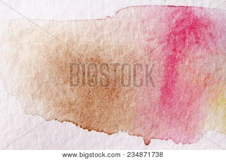 Pink Stroke With A Brush Made Of Watercolors. Paper Background. Background For Decoration And Your D