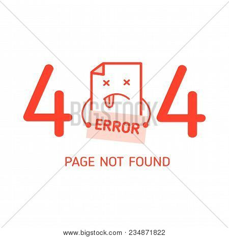 404 Error With Character Error Design Template For Website In White Background Graphic