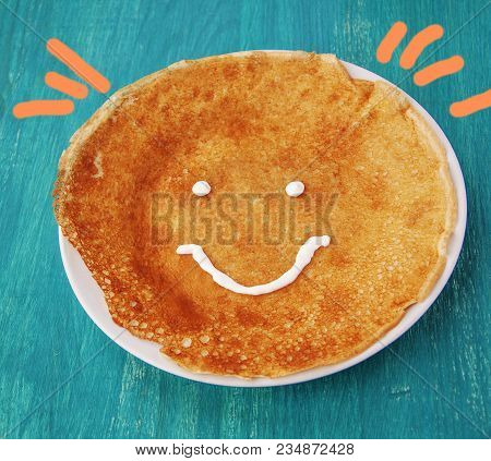 Art Food For Children. Tasty Appam In The Form Of The Sun. (healthy Food, Health, Sweetie Concept)