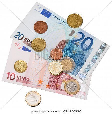 Bank Euro Coin Banknotes Coins Eur Color