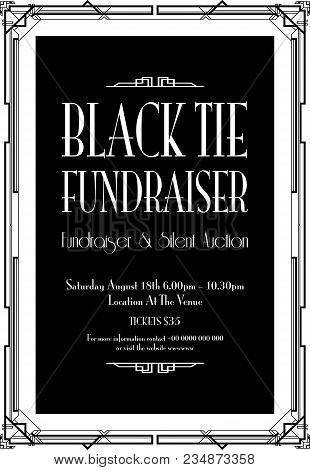 A Black Tie Fundraiser Art Deco Background