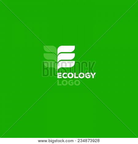 Ecology Logo On Green Background. E Monogram. E Monogram From The Leaves On A Green Background.