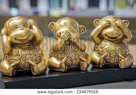 Three Wise Monkeys - Figurine Of Chimps Depicting