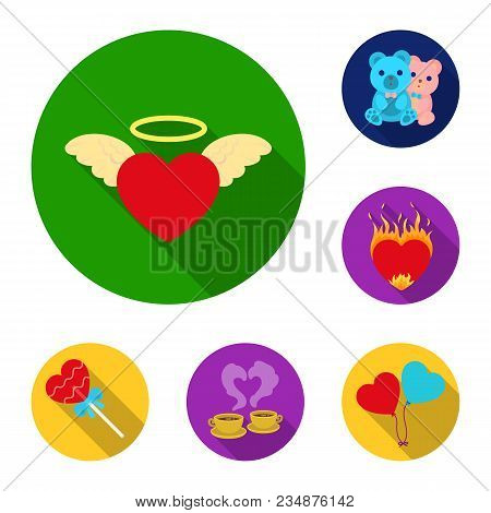 Romantic Relationship Flat Icons In Set Collection For Design. Love And Friendship Vector Symbol Sto