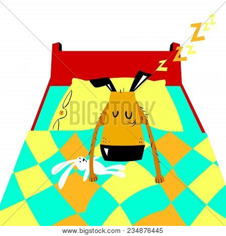Sleeping Dog. Tired Pet Asleep In Bed With A Pillow And Toy-rabbit In The Paws. Vector Cartoon Illus