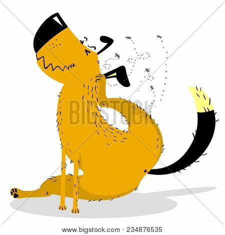 Itchy Dog. Domestic Or Stray Dog With Skin Parasites. Pet And Fleas. Vector Illustration In Cartoon