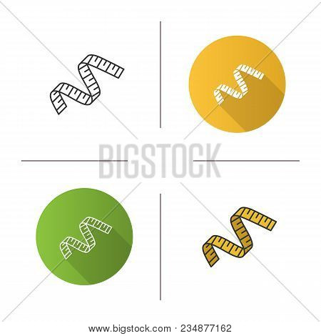 Measuring Tape Icon. Flat Design, Linear And Color Styles. Sewing Meter. Isolated Vector Illustratio