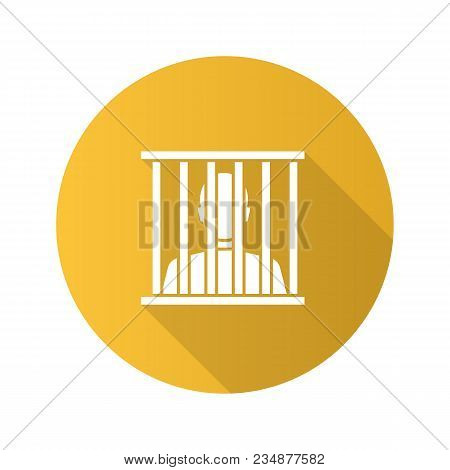Prisoner Flat Design Long Shadow Glyph Icon. Jail, Prison. Vector Silhouette Illustration