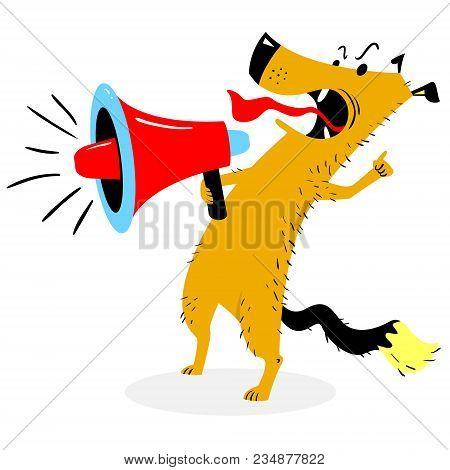 Screaming Dog. The Dog Barks Into The Loudspeaker. Angry Pet With Megaphone. Vector Illustration Wit